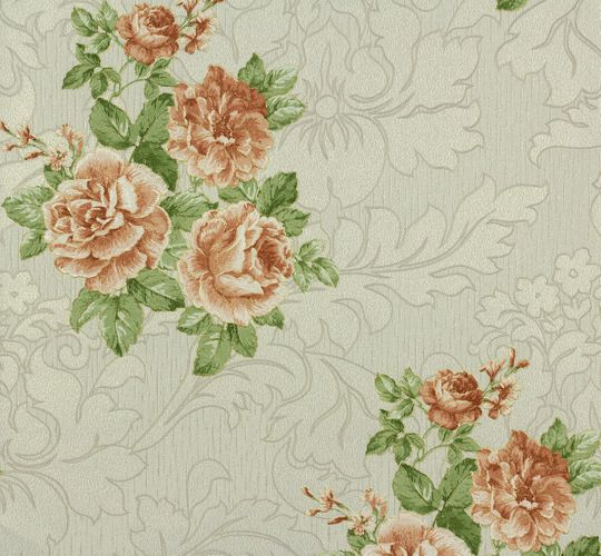 Non-woven wallpaper floral cream green red P+S Como 02367-100236710 online kaufen