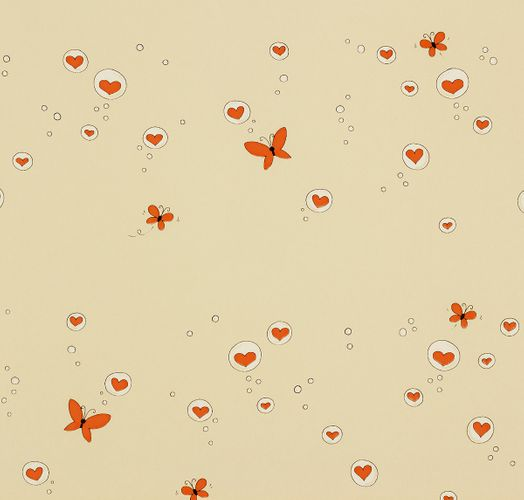 paper wallpaper Girotondo kids 006007 Rasch Textil hearts butterfly cream orange