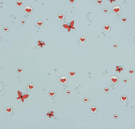 paper wallpaper Girotondo kids 006006 Rasch Textil hearts butterfly light blue red