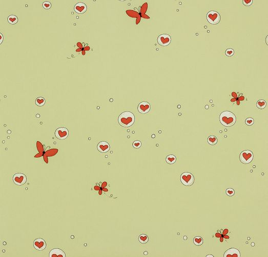 paper wallpaper Girotondo kids 006005 Rasch Textil hearts butterfly green red online kaufen