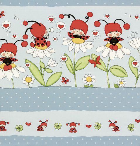 XXL-paper border Girotondo 006082 Rasch Textil animals ladybugs blue white red online kaufen