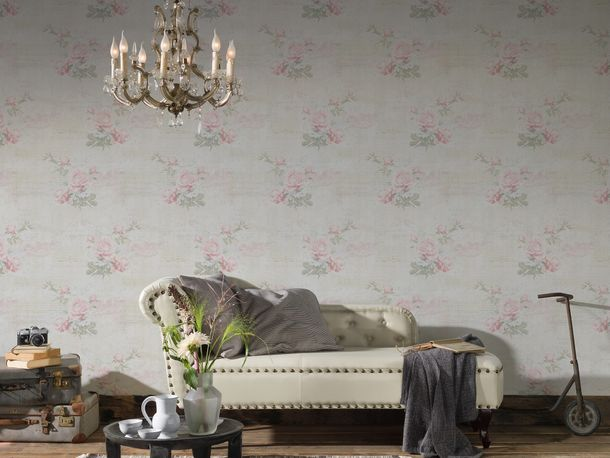 wallpaper vintage flowers cream rose green livingwalls Djooz 95667-1 956671 online kaufen
