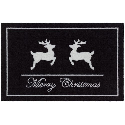 Doormat 40x60 cm door mat black white Christmas reindeers Astra doormat
