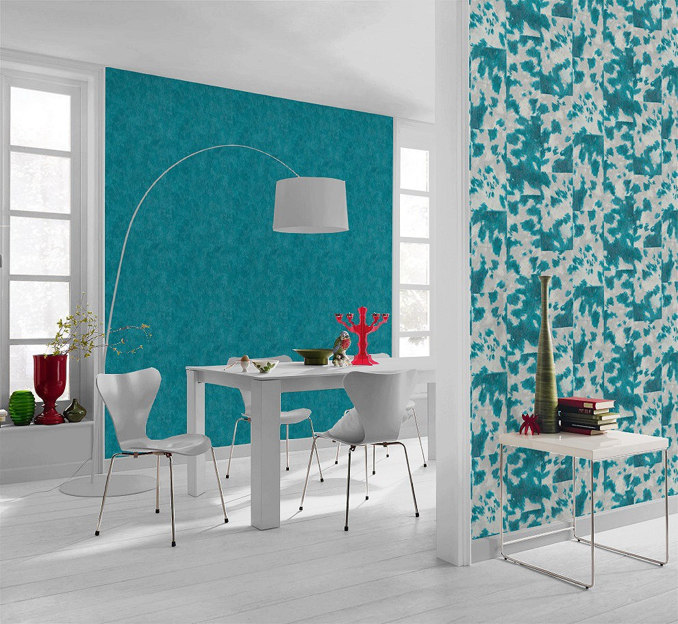non woven wallpaper coat optic turquoise grey rasch pop. Black Bedroom Furniture Sets. Home Design Ideas