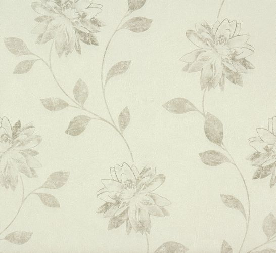 non-woven wallpaper flowers cream greybeige wallpaper Rasch Fiducia 425161