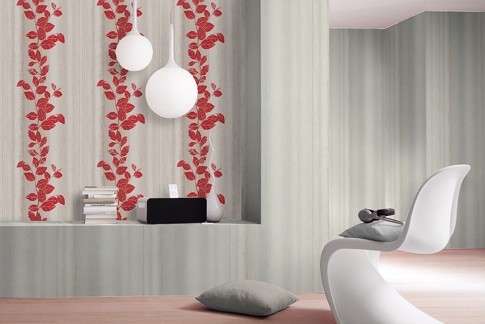 non woven wallpaper structure flowers grey red wallpaper rasch fiducia 424720. Black Bedroom Furniture Sets. Home Design Ideas