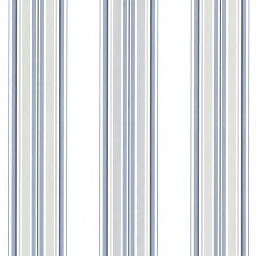 Non-woven wallpaper stripes white blue grey 021209