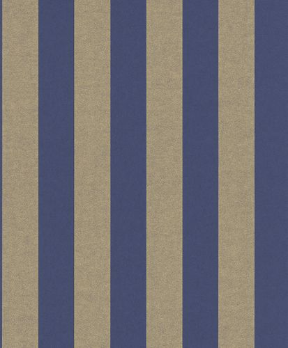 Non-woven Wallpaper Glossy Stripes dark blue Glossy 225463