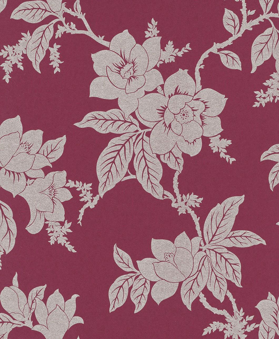 Vliestapete  Floral  bordeaux  rot  silber  Tapete - Tapete Bordeaux