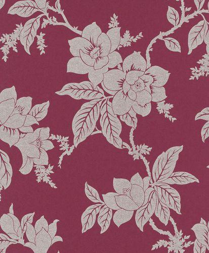Non-woven wallpaper floral bordeaux red silver Rasch Textil Tapete Comtesse 225388 online kaufen