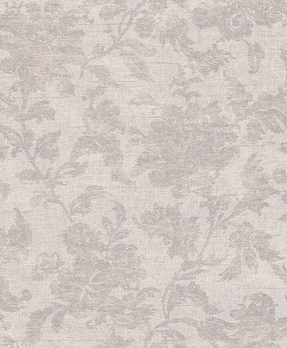 Non-woven wallpaper floral structure creamgrey metallic Rasch Textil Tapete Comtesse 225012