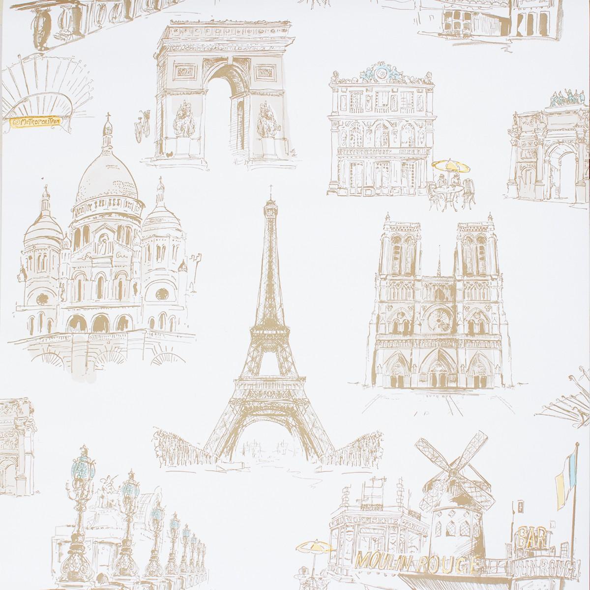 Tapete Cremeweiss Beige Stadt Paris Eifelturm Ideco Home