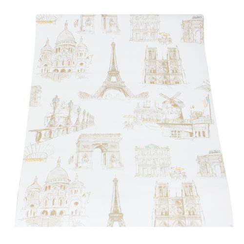 Wallpaper retro city Paris cream white beige wallpapers Ideco Home ihc_L01 online kaufen