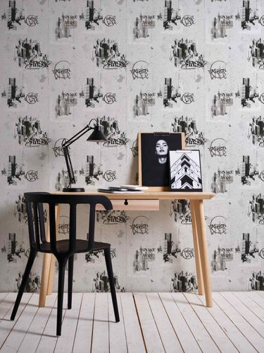 Kids Wallpaper Cities Graffiti grey black 6840-11 online kaufen