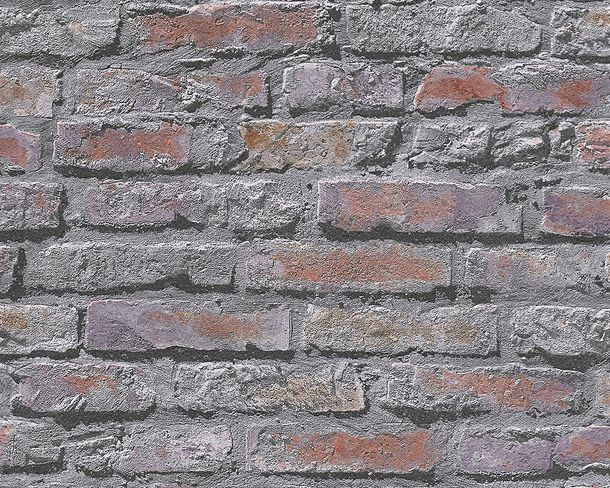 Wallpaper Brick Stonewall grey red 95470-2