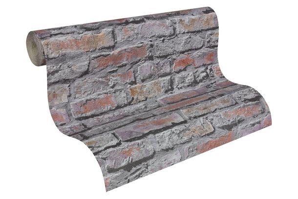 Tapete Ziegelsteinmauer grau rot 95470-2