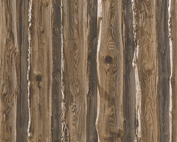 Wallpaper Wood Panel dark brown 95837-1