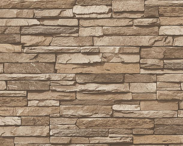 Wallpaper slate stone bricks brown AS Creation 95833-2