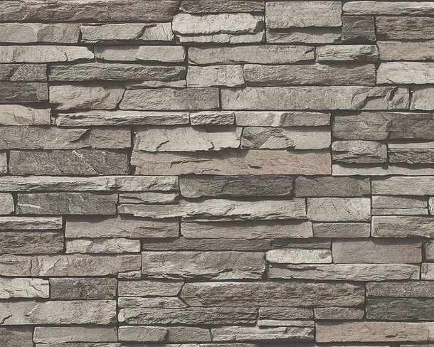 Wallpaper slate stone bricks grey Lutèce 95833-1