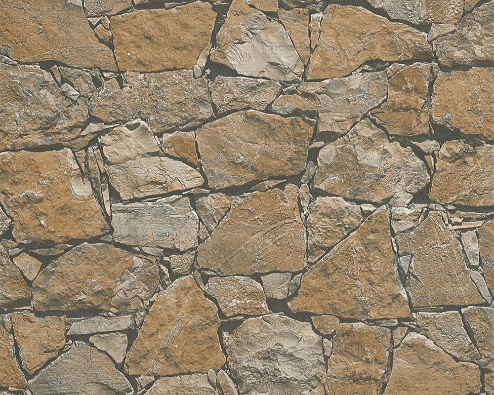 vliestapete stein optik naturstein braun grau as creation 95863 1. Black Bedroom Furniture Sets. Home Design Ideas