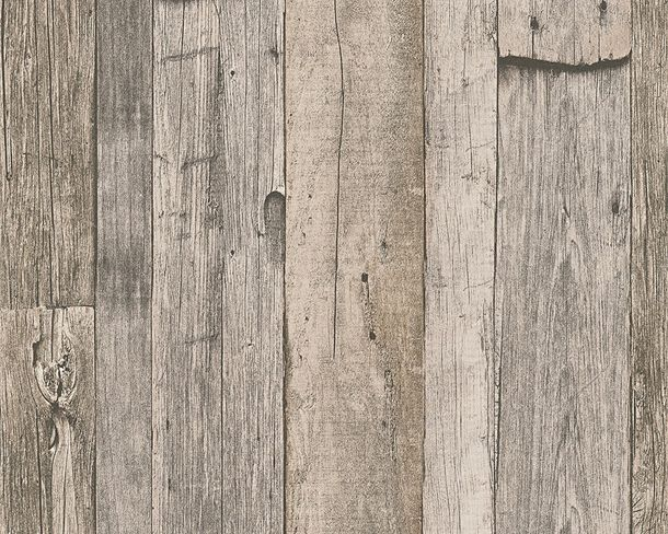 Wallpaper wooden style used brown grey AS Creation 95931-2
