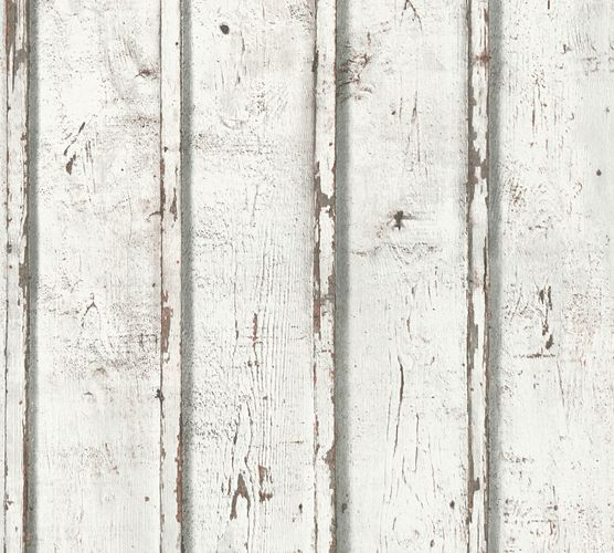 Wallpaper wooden board style white Lutèce 95370-1