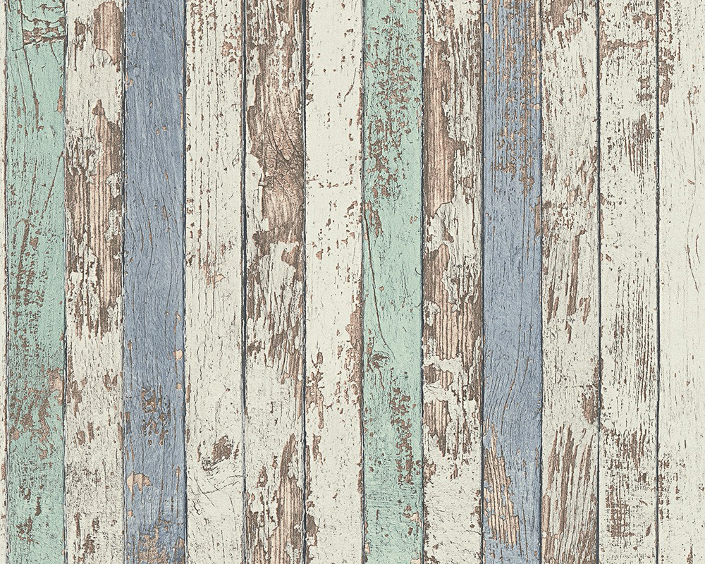 Wallpaper Wooden Style Used Blue White AS Creation 95914 1 001