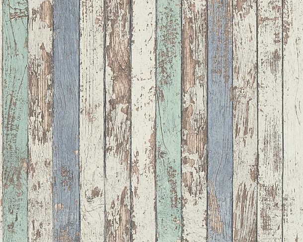 Wallpaper wooden style used blue white AS Creation 95914-1