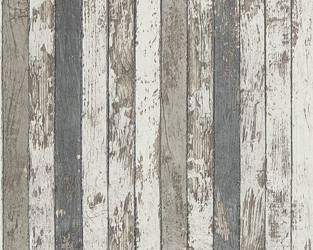 Wallpaper wooden style used white grey AS Creation 95914-2