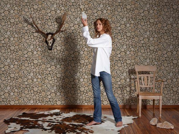 Wallpaper Tree Trunk Stack beige brown 95836-1 online kaufen