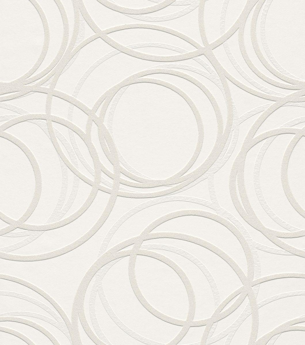 Tapetenmuster weiß  Vliestapete weiß Grafisch Wallton Rasch 342208