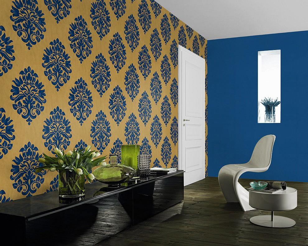 non woven wallpaper baroque gold blue wallpaper rasch en suite 545722. Black Bedroom Furniture Sets. Home Design Ideas