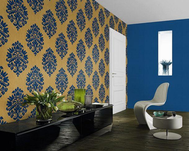 Non-woven Wallpaper baroque gold blue wallpaper Rasch En Suite 545722 online kaufen