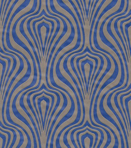 Non-woven Wallpaper retro waves light brown blue wallpaper Rasch En Suite 546019 online kaufen