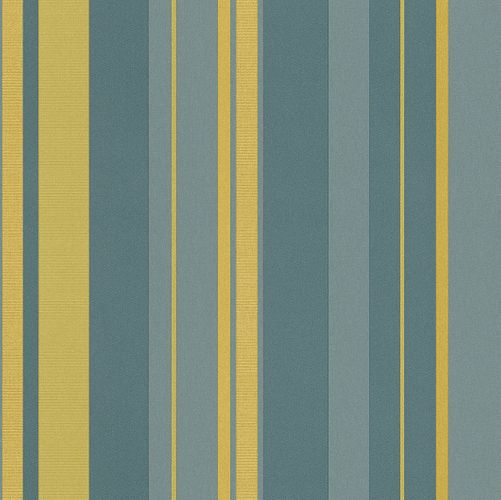 Non-woven Wallpaper stripes petrol gold grüngrey wallpaper Rasch En Suite 546552