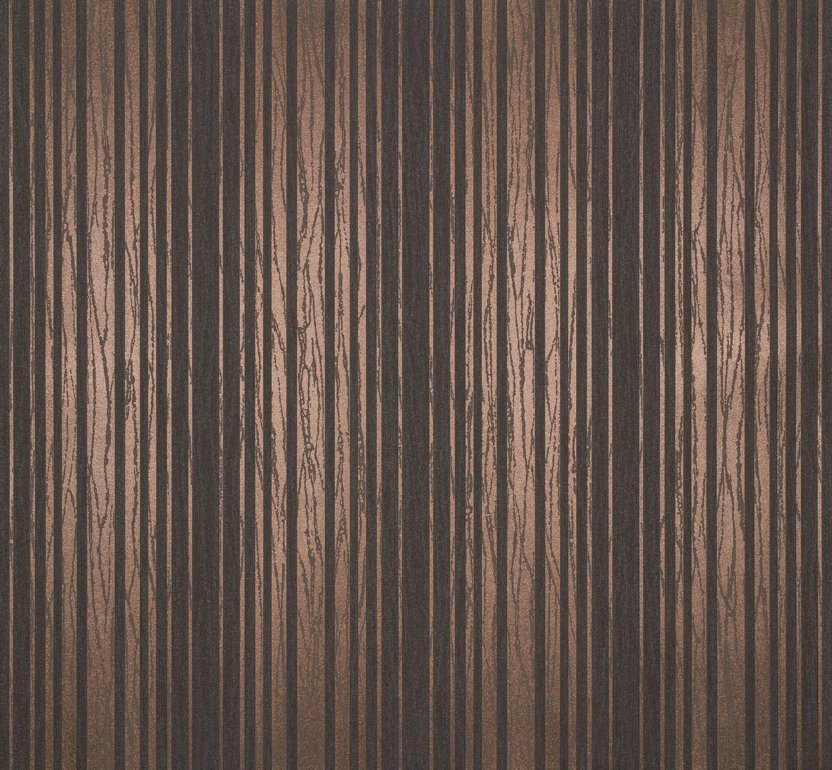 Effekt Wandfarbe Bronze Metallic: Vliestapete Streifen Linien Braun Kupfer Metallic 55722
