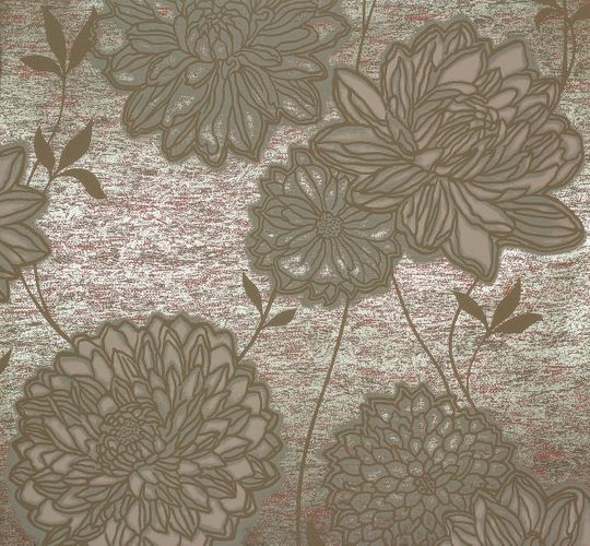 Non-woven wallpaper flowers green brown Marburg 55740