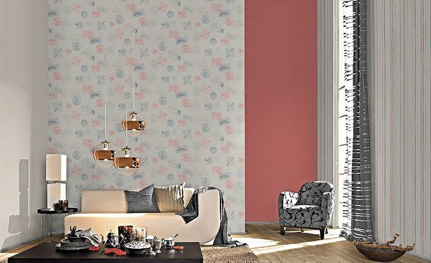 Non-woven Wallpaper red plain Rasch Home Vision 4 Eastcoast wallpaper 426441 online kaufen