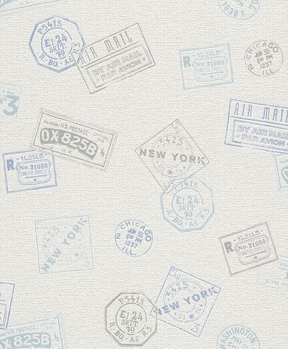 Non-woven Wallpaper beige blue grey stamp Rasch Home Vision Eastcoast wallpaper 426809 online kaufen