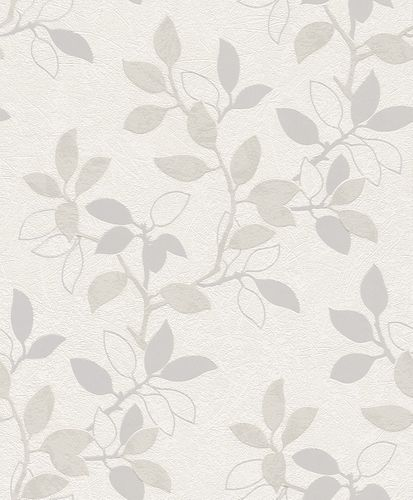 Non-woven Wallpaper beige silver grey leafs Rasch Home Vision Spring Time wallpaper 431407