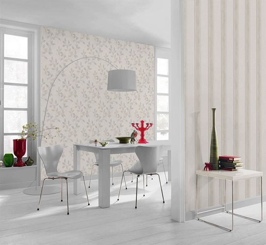 Non-woven Wallpaper beige silver grey leafs Rasch Home Vision Spring Time wallpaper 431407 online kaufen