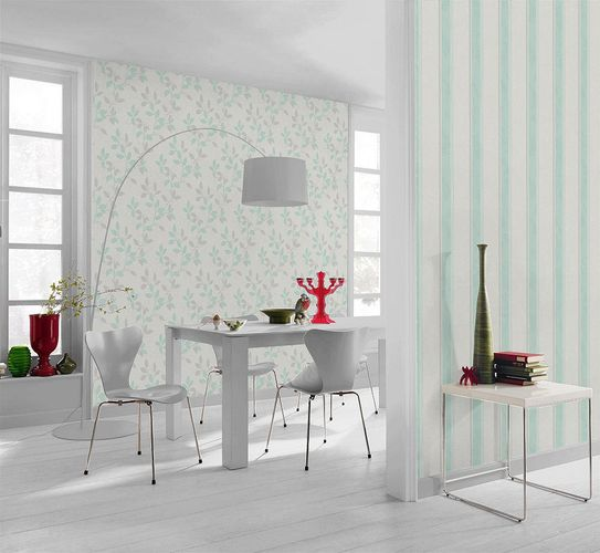 Non-woven Wallpaper green white stripes Rasch Home Vision 4 Spring Time wallpaper 432411 online kaufen