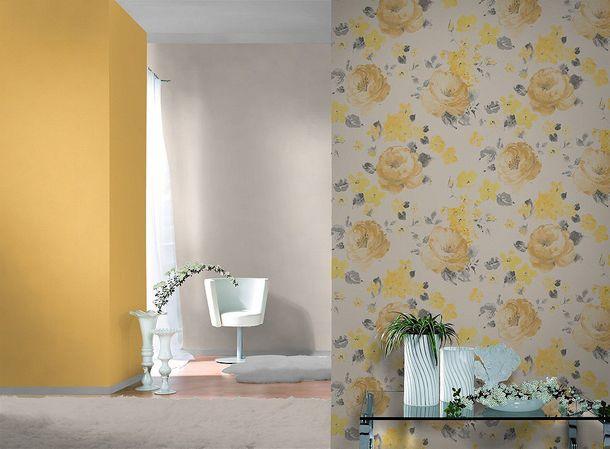 Non-woven wallpaper yellow plain Rasch Florentine wallpaper 448580 online kaufen