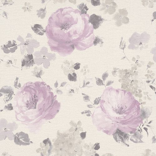 Wallpaper flower Rasch Pure Vintage cream purple 448832 online kaufen