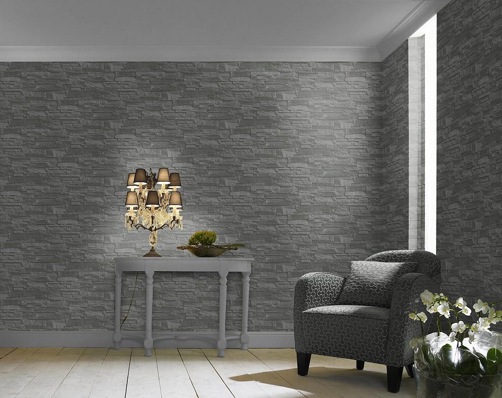 non woven wallpaper slate look natur stone grey black
