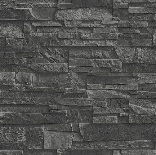 Non-woven wallpaper slate look natur stone black Rasch Factory 2 wallpaper 475036