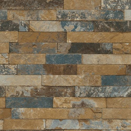 Wallpaper Rasch 3D stone wall design blue 475104