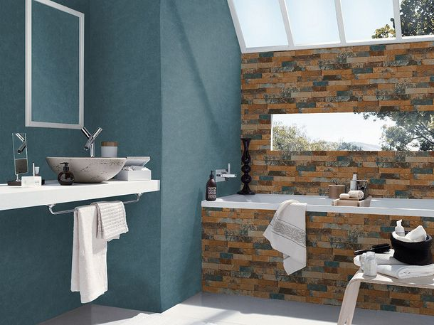 Wallpaper Rasch 3D stone wall design blue 475104  online kaufen