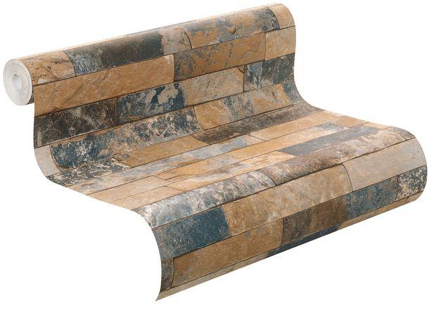 Wallpaper Rasch 3D stone wall design blue 475104  online kaufen