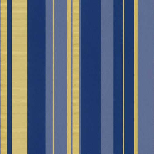 Non-woven Wallpaper stripes blue gold wallpaper Rasch En Suite 546521